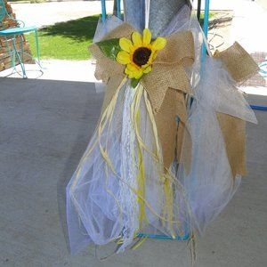 5 Yellow Sunflower Burlap Bow Party Wedding